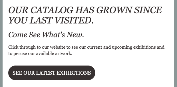 "email example screenshot with headline ""our catalog has grown since you last visited."" supporting text and button"
