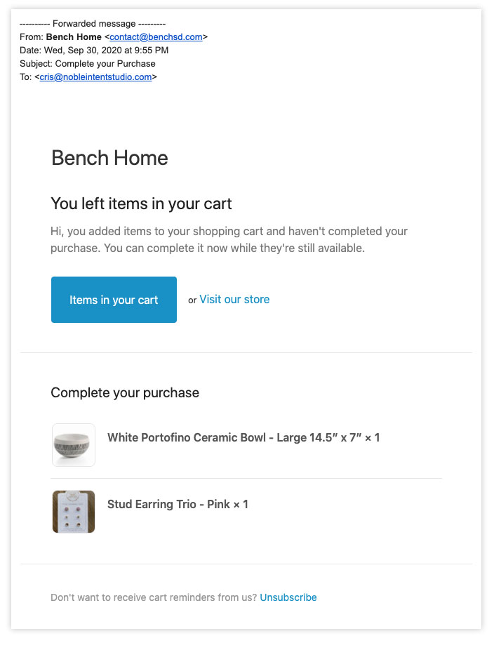 Shopify default abandoned cart email template