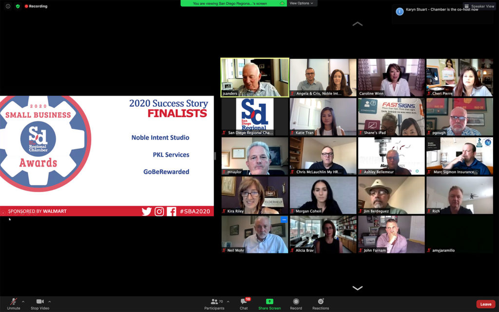 virtual awards ceremony screenshot showing guests
