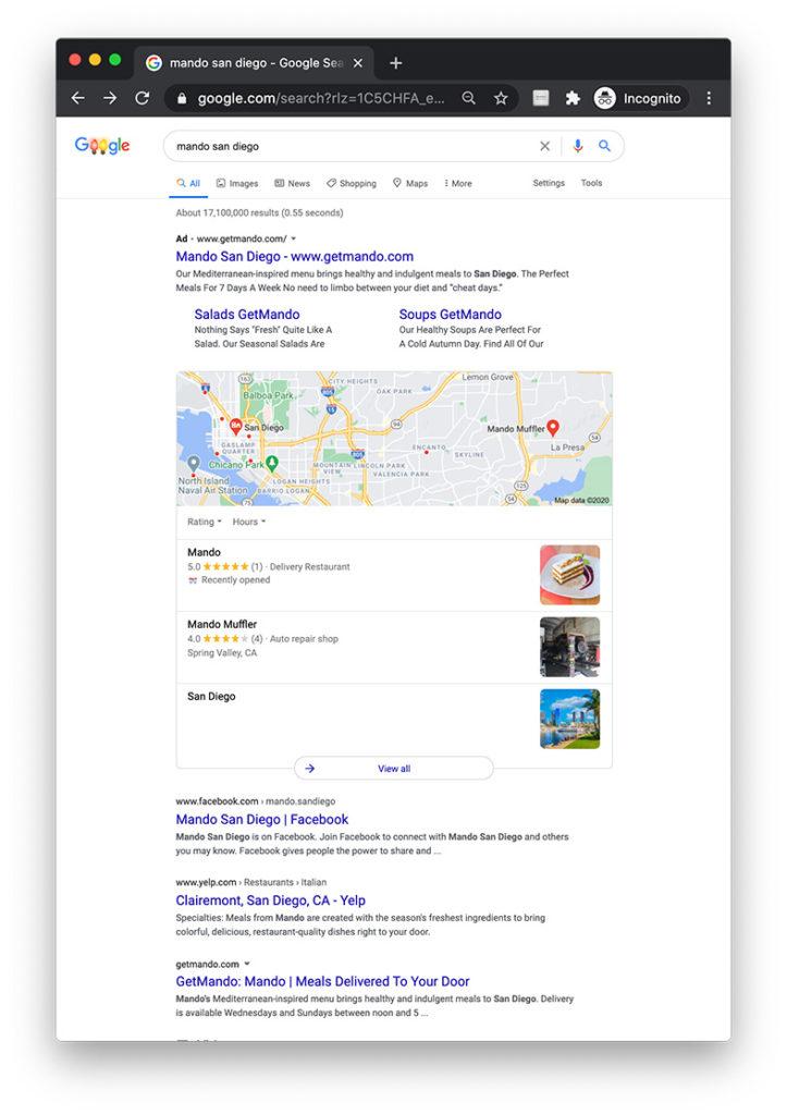 Screenshot of Google listing for Mando