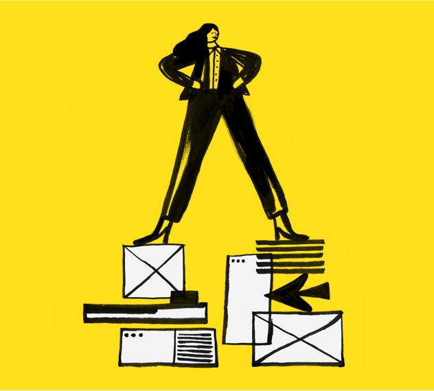 illustration of woman standing on email builder graphics