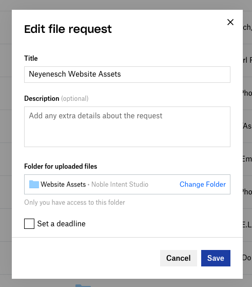 browser dialog box showing file request details of title, description, folder selected, and button to save