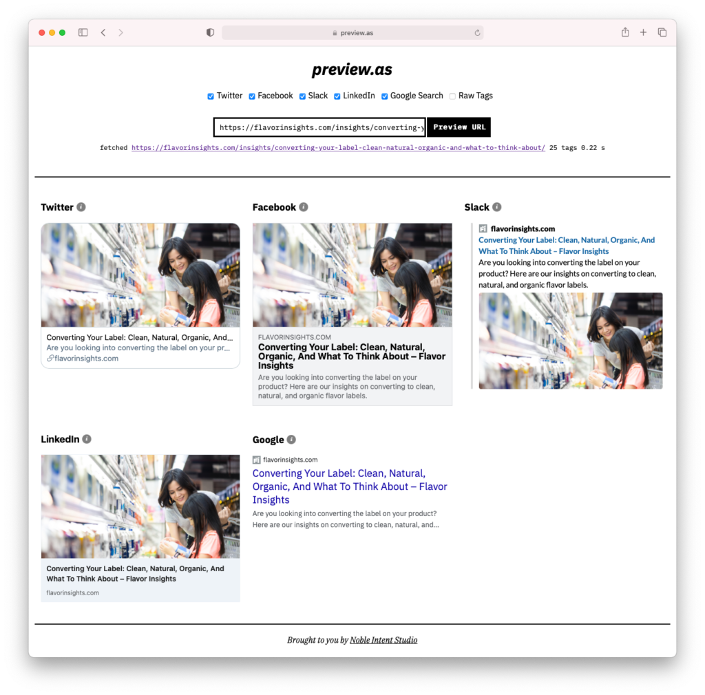 screenshot of website preview.as showing preview images of social platforms