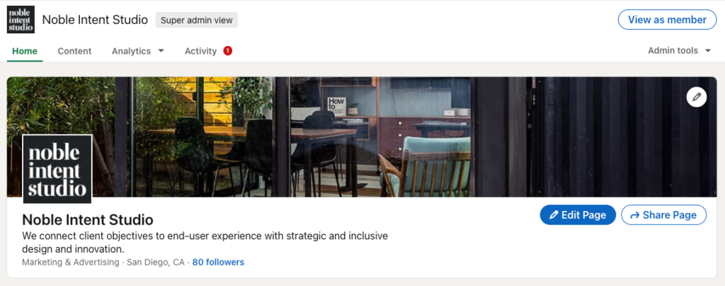LinkedIn Company Page example showing follower count