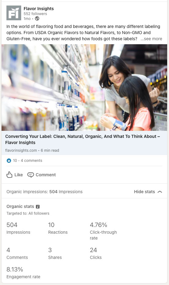 LinkedIn post showing 504 impressions and 8.13% engagement rate