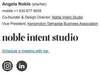 email signature example showing name, pronouns, phone, titles, logo, schedule a meeting link, instagram and linkedin icons